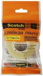 Лента клейкая прозрачная, 15мм*33м, Scotch