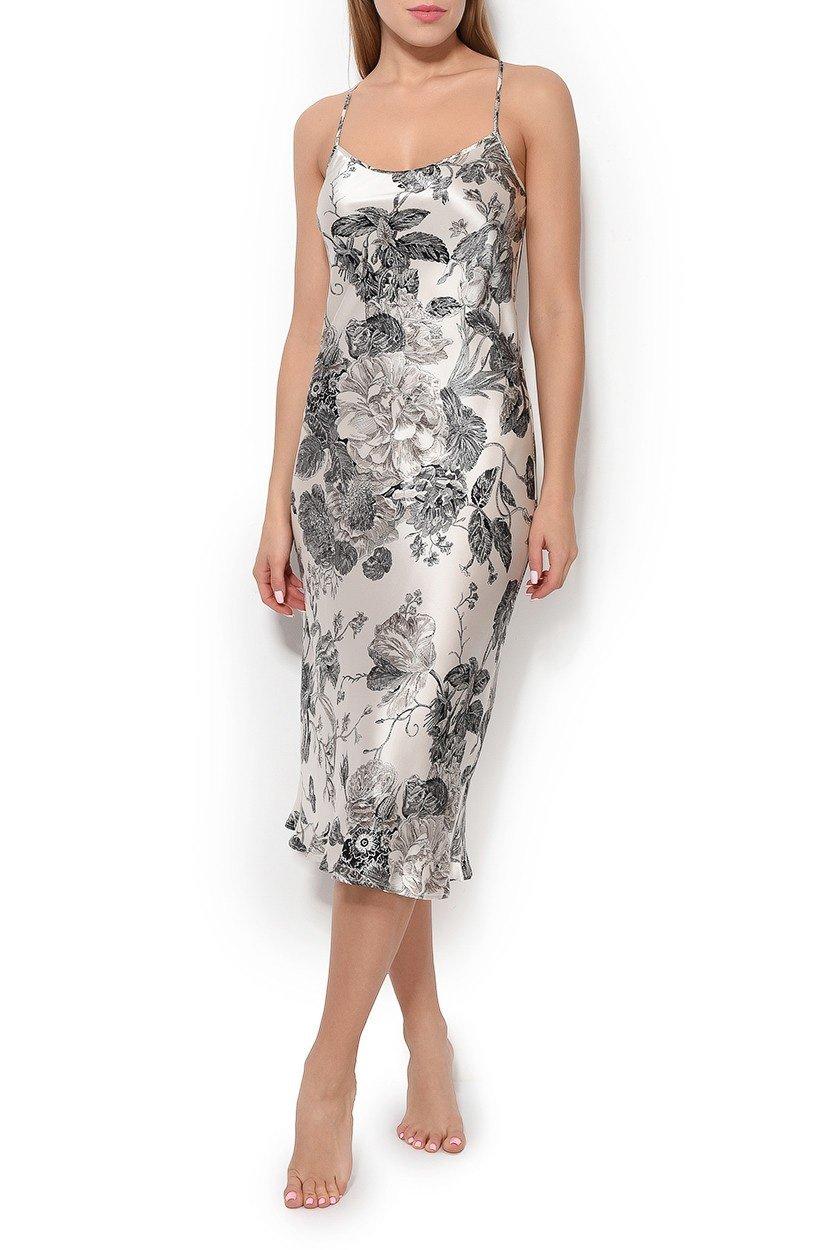 13с1712 Felicie Сорочка шелковая, длинная Oryades (ваниль), 46