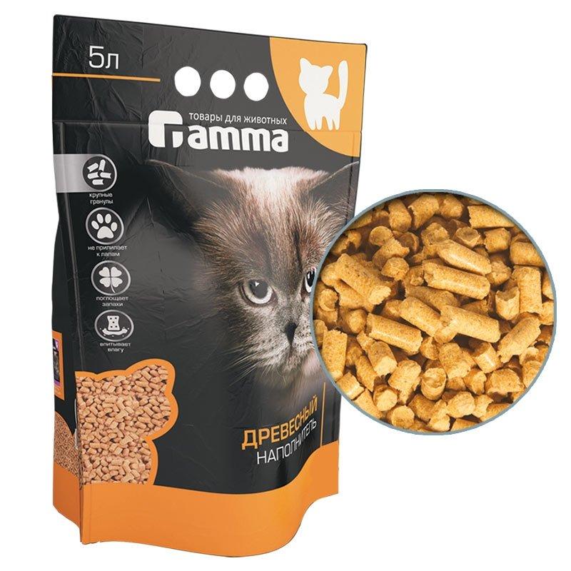 Наполнитель для кошачьего туалета древесный крупный (5л), Gamma