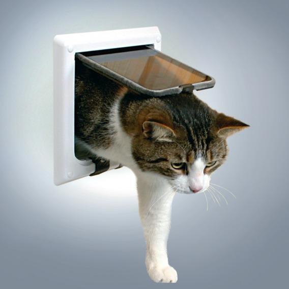 """Дверца для кошки """"De Luxe"""" (4 позиции, с туннелем) белая, 15,8х14,7 см"""