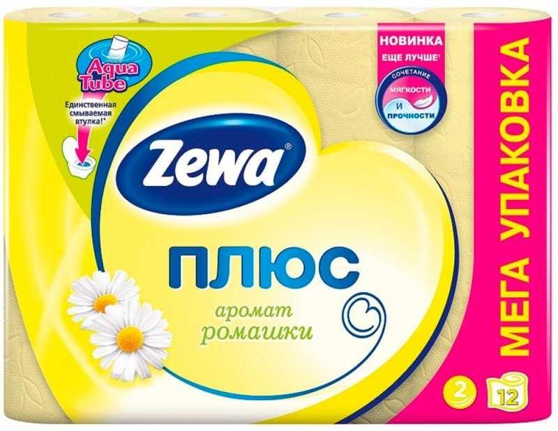 Туалетная бумага Zewa плюс ромашка, 12 рулонов