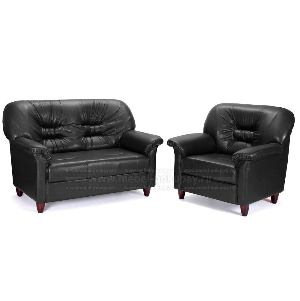 Комплект мебели кожаный офисный двухместный диван кресло Мебель-покупай ЧЕСТЕР экокожа черная