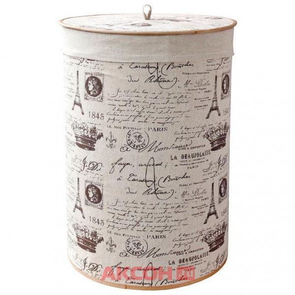 корзина для белья складная, круглая, с крышкой и декоративным покрытием из натурального льна blb-08-