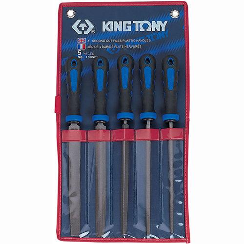 Напильник KING TONY 1005GQ (Набор напильников 200 мм, двухкомпонентные рукоятки, 5 предметов)