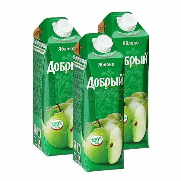Сок Добрый Яблочный 1 л, Сет 3 шт