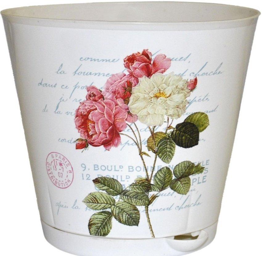 """Горшок для цветов InGreen """"Крит. Прованс"""", 12 см (с системой прикорневого полива)"""