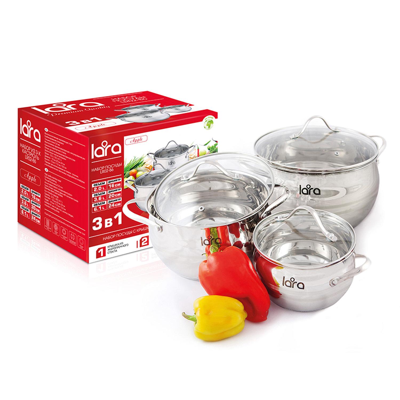 Набор посуды Lara Apple, 6пр(кастрюли с крышками 2л,3,6л,6,1л), нерж.сталь