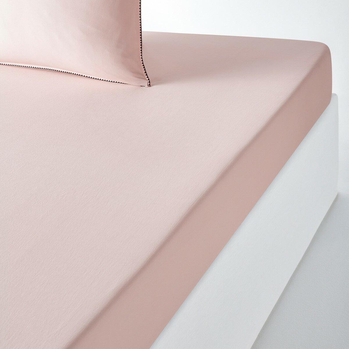 Простыня La Redoute Натяжная однотонная из стиранного хлопка ADRIO 180 x 200 см розовый