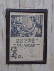 Настенный декор TETCHAIR рамка с рисунком - SKYPE ( mod. M-6109 ), дерево / ткань, 60х3х80