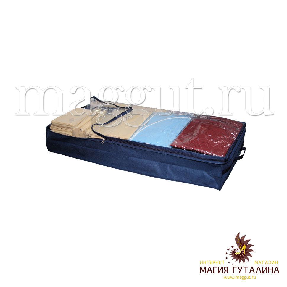 Органайзеры и кофры для одежды и обуви Магия Гуталина Чехол-ящик для хранения вещей 100х45х15 см. с окошком, ручками и молнией Магия Гуталина.
