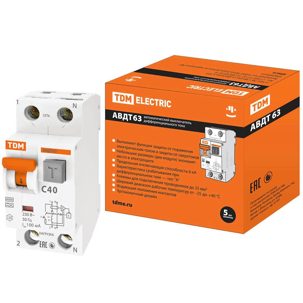 Автоматический выключатель дифференциального тока TDM Electric SQ0202-0008 АВДТ 63 C40, 100 мА
