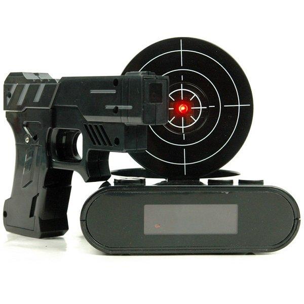 Будильник-мишень с лазерным пистолетом #34;Тир #34; черный