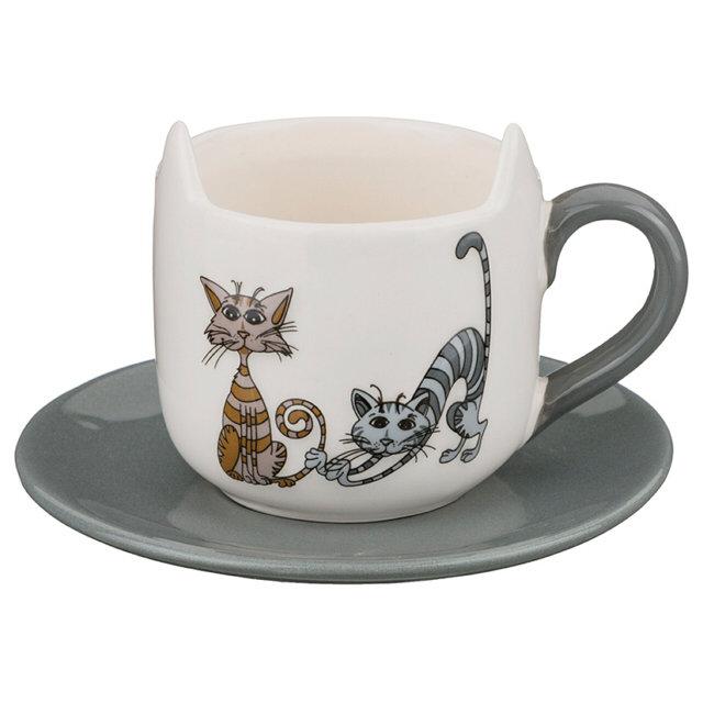 чашка с блюдцем lefard озорные коты 210мл керамика