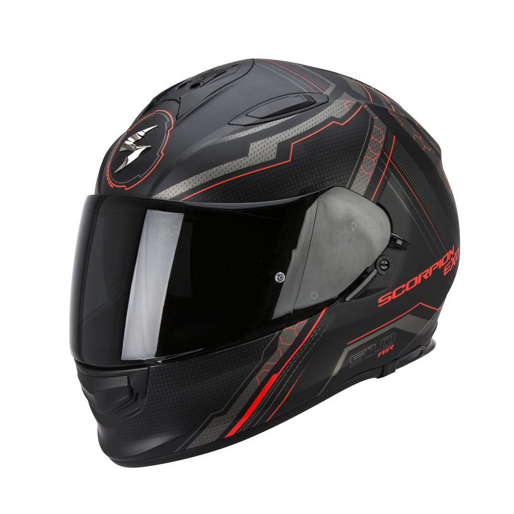 Scorpion Exo Мотошлем Exo-510 Air Sync, Цвет Черный Матовый/красный Неон