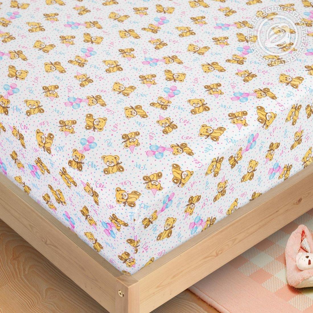 Простынь мишутка - простынь на резинке, размер 60х120, ткань трикотаж, Артпостель