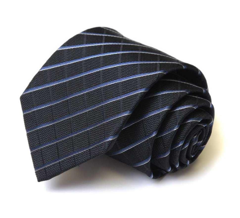 Черный галстук с полосками Клаб Сета 42907