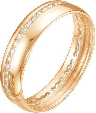 Серебряное обручальное парное кольцо Серебро России P1-230Z200-64009 с фианитами, размер 16,5 мм