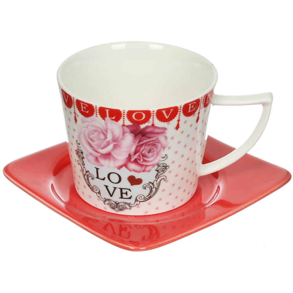 Сервиз чайный из керамики, 8 предметов, Любовь красные блюдца 24696