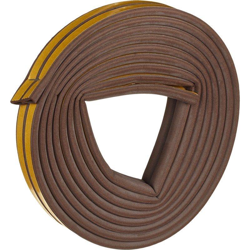 Уплотнители для окон D-профиль (резиновый) на клейкой основе коричневый 10м/100