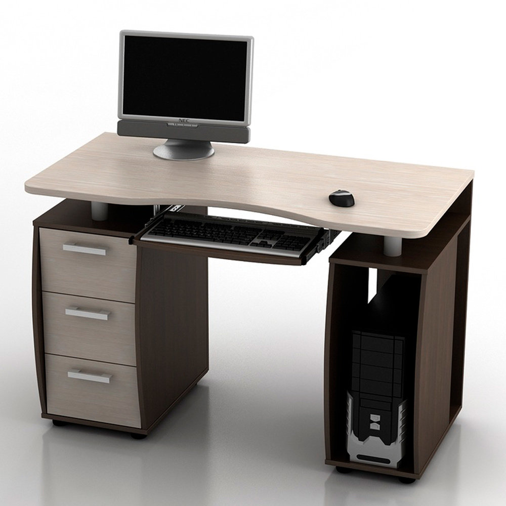 Компьютерный стол КС-12М Дрофа Венге/Комби столешница Дуб