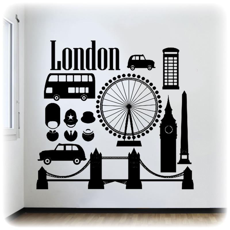 Наклейка на стену Лондон набор 59 см х 25 см