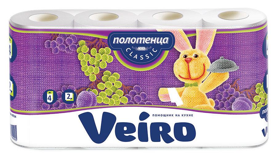 Полотенца бумажные Veiro Classic белые 2-х слойные 4 рулона