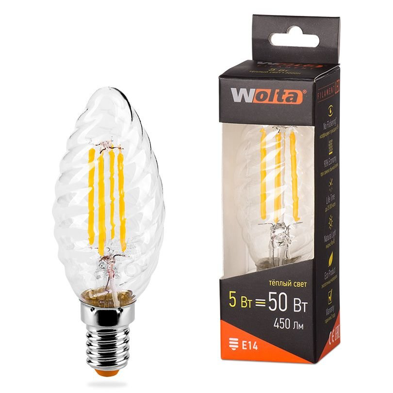 Лампа Wolta E14 50 5Вт 3000K
