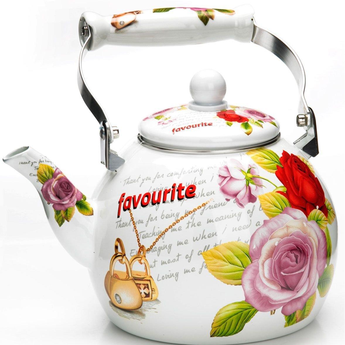 """Чайник эмалированный 3 л """"Цветы"""" Mayer & Boch 26497"""