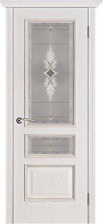 Межкомнатные двери Белорусские Двери (Белорусские Двери) Белорусские Двери Шпон Вена Белая патина Со стеклом Версачи