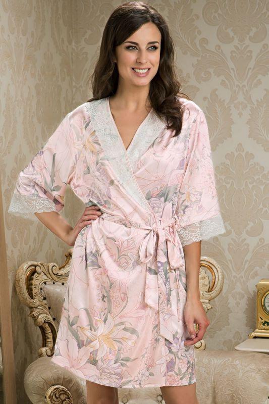 Шелковый халат перламутрово-розовый из натурального шелка