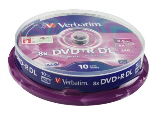 Оптический диск Verbatim DVD+R 8.5 Gb, 8x, Cake Box, Double Layer (10шт)