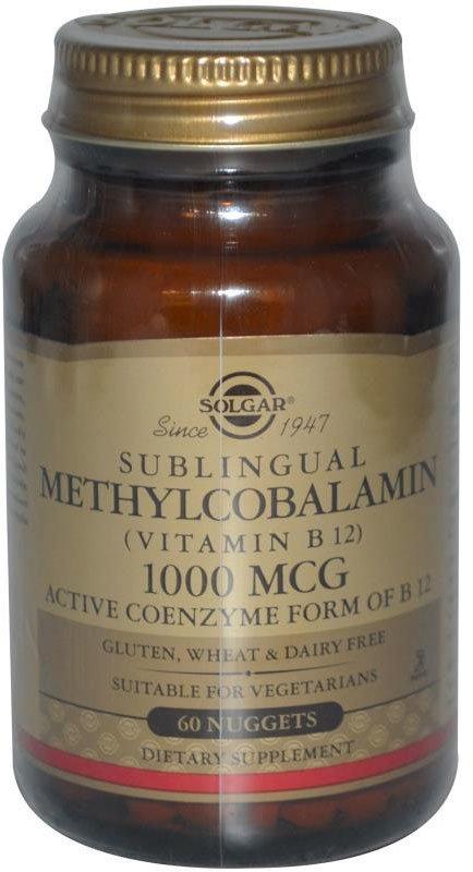 Solgar Methylcobalamin 1000 мкг сублингвальный Витамин B-12, 60 растворимых таблеток