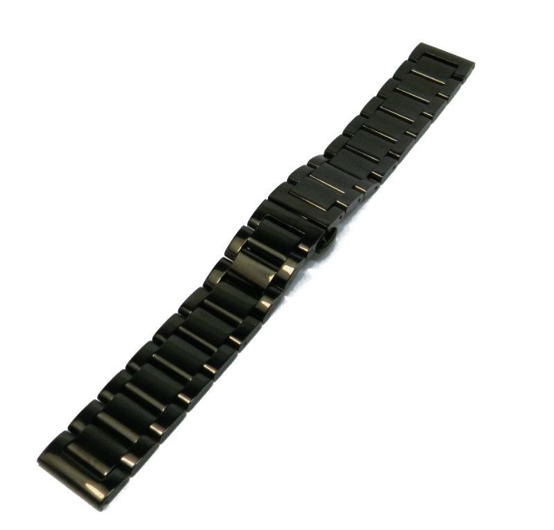 Литой браслет из стали для часов Braslet LCH33 черного цвета 18мм