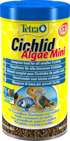 Корм Tetra Cichlid Algae Mini растительный для цихлид в виде двухцветных мини-гранул (10 л (ведро))