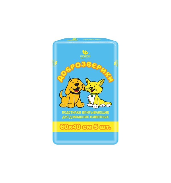 Подстилки для кошек и собак Доброзверики Экономичная упаковка подстилки для животных 5 шт., 60*40см