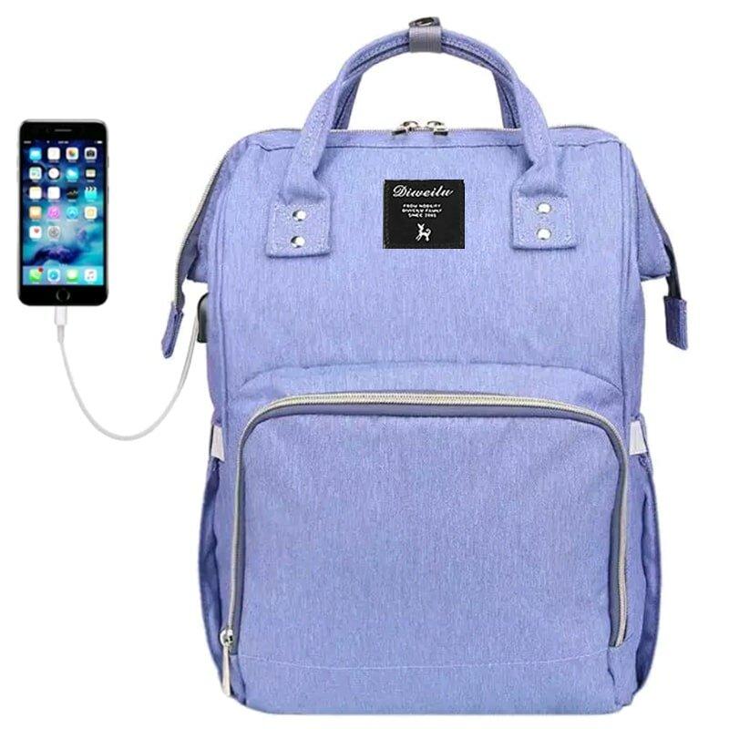 Рюкзак для мамы Diweilu с USB голубой