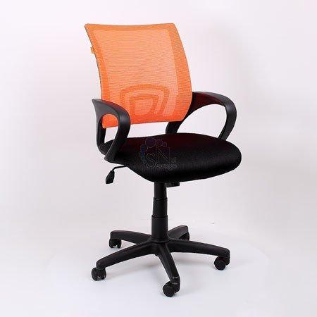 Кресло операторское CH-696 черное, спинка оранжевая сетка DW66