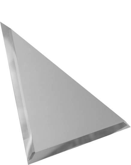 Треугольная зеркальная серебряная матовая плитка с фацетом 10мм ТЗСм1-01 18х18
