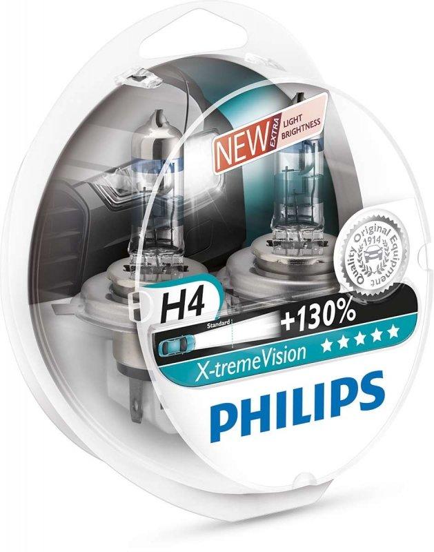 Лампа галогенная PHILIPS H4 X-treme Vision 3700K 12V 60/55W, 2 шт, 12342XV+S2
