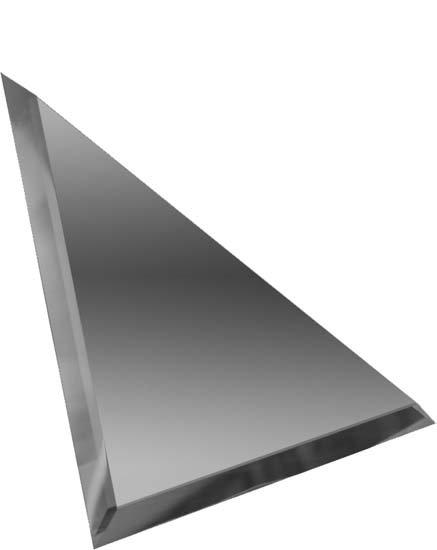 Треугольная зеркальная графитовая плитка с фацетом 10мм ТЗГ1-01 18х18
