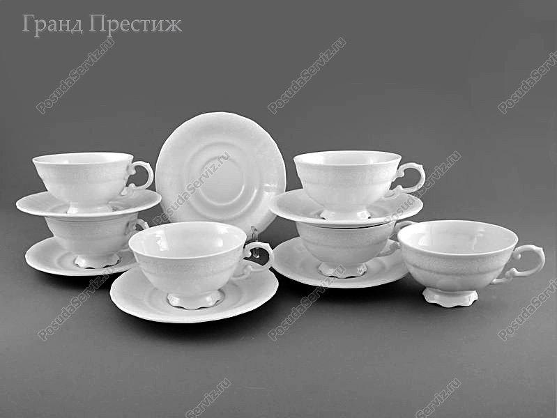 Набор чайных пар Набор чайных чашек с блюдцем Леандер (Leander) Набор чайных чашек с блюдцем фарфоровых (Шапо чайное или пара) 200 мл. Белые узоры. Соната