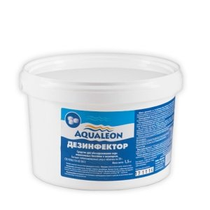 Aqualeon дезинфектор БСХ 1.5 кг. в таблетках. Быстрорастворимые хлорные таблетки массой 20 гр. для дезинфекции воды бассейна.