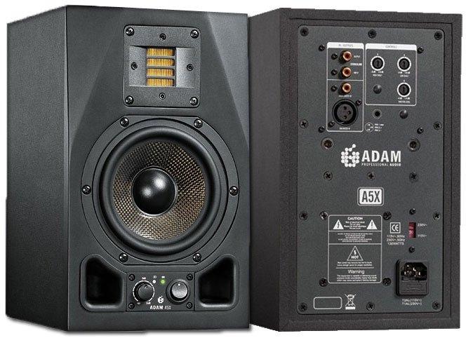 """ADAM A5X Активный 2-х полосный студийный аудио монитор, ленточный X-ART ВЧ драйвер 2"""", Carbon Fiber НЧ драйвер 5"""", диапазон частот 45-50000 Гц, THD<0.5%, максимальный SPL>114 дБ, частота разделения кроссовера 2.5 кГц, вход XLR/RCA"""