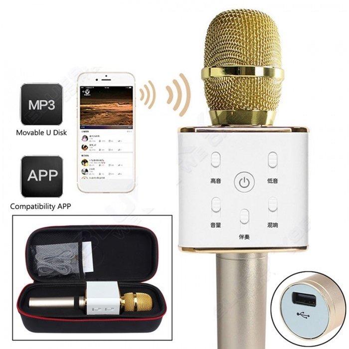 Беспроводной караоке-микрофон tuxun q7 pro розовый