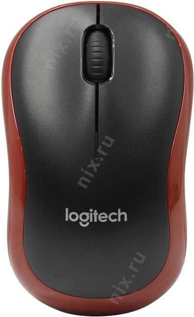 Мышь Logitech Wireless Mouse M185 Black-Red USB