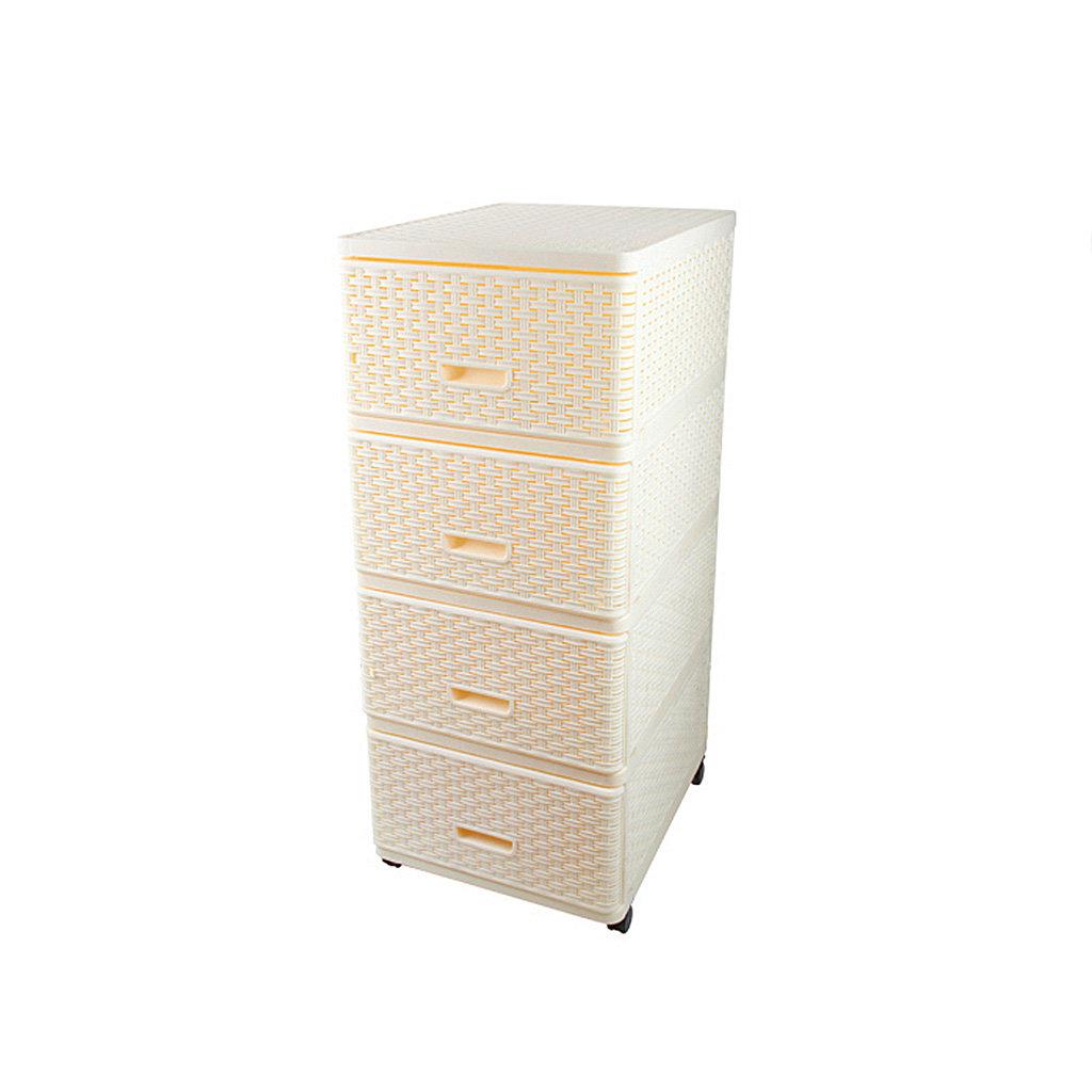 Комод 4 секции Dunya Plastik 04054 плетенный кремовый, 40х50х98 см