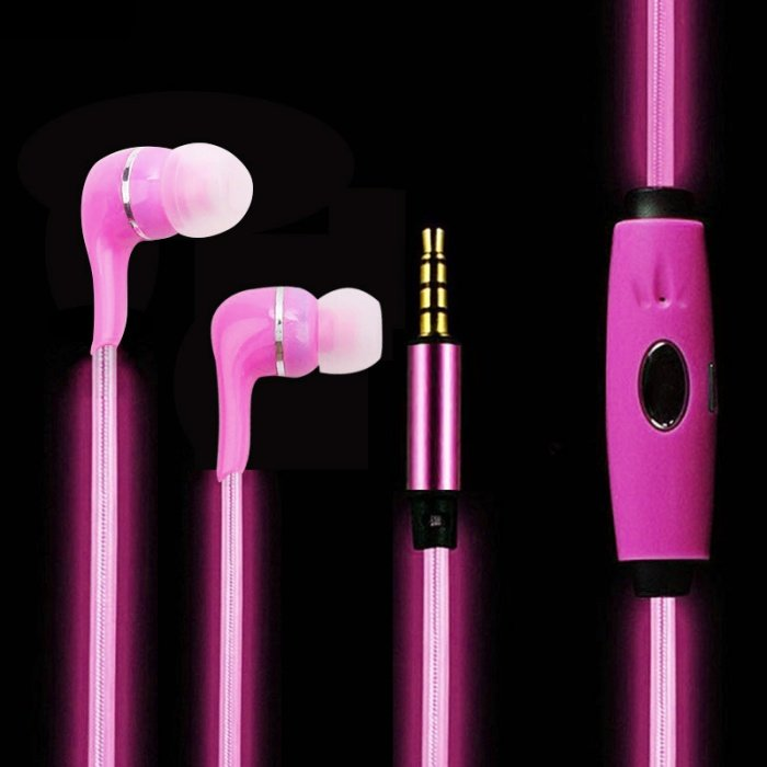 Светящиеся наушники Lighted Earphone Розовый
