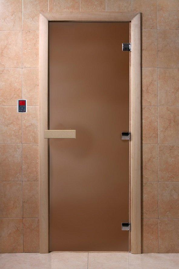 Дверь для сауны Doorwood Теплая ночь стекло бронза матовая, коробка осина