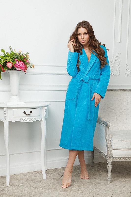 Махровый бирюзовый удлиненный женский халат Monti