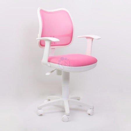 Кресло операторское CH-W797 PK/TW-13А пластик белый/ спинка розовая